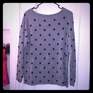 H&M grey sweater with black polka dots